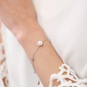 Pearl Cat Bracelet Sterling Silver
